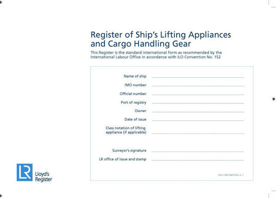 Picture of Form 1365 (LA1) Register of Ships Lifting Appliances & Cargo Handling Gear (Sold in packs of 20)